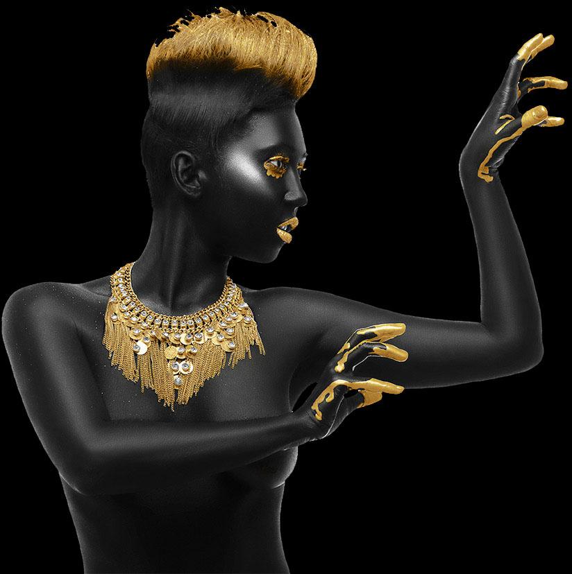 black golden woman
